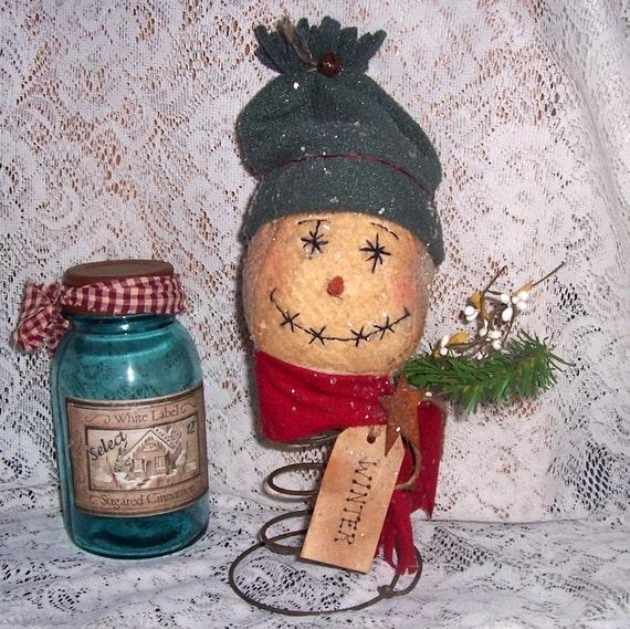 Primitive snowman nodder make do rustic collectible shabby snowman primitive decor winter