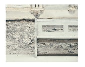 Old Church Bench, Stone White Grey, French Vintage whimsical, 12x8 inch - Fine Art Photography