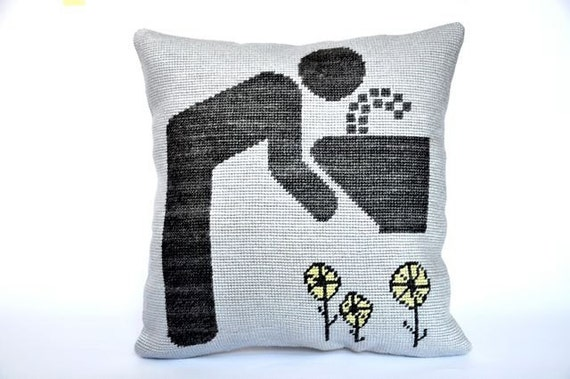 Pictogram Pillow / handmade, needlepoint