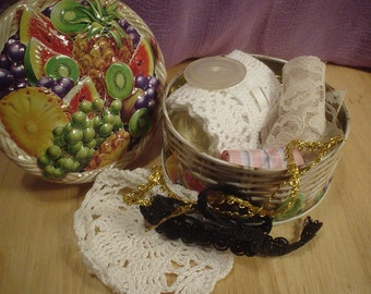 Fruit Tin Full of Trims and Laces