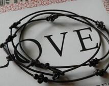 Genuine Leather (1 mm) Eternity Knot Wrap Bracelet - Choose color