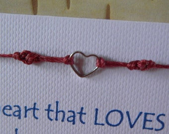 Tiny Heart String Bracelet