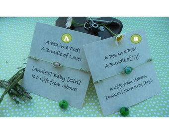 Pea in a Pod Thin Leather String Bracelet - Baby Shower Favor