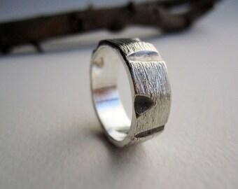Mens Silver Ring -Wood cut 2, Mens's Band Ring, MADE TO ORDER