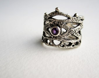 Silver Lace Ring -style 4 with Amethyst