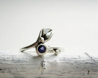 Leaf Ring,Iolite Small Leaf Silver Ring, Iolite Ring