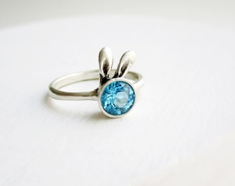 Blue Bunny Ring, Blue Topaz and Sterling Silver Ring