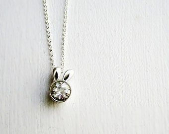 White Bunny Necklace, White Topaz and Sterling Silver