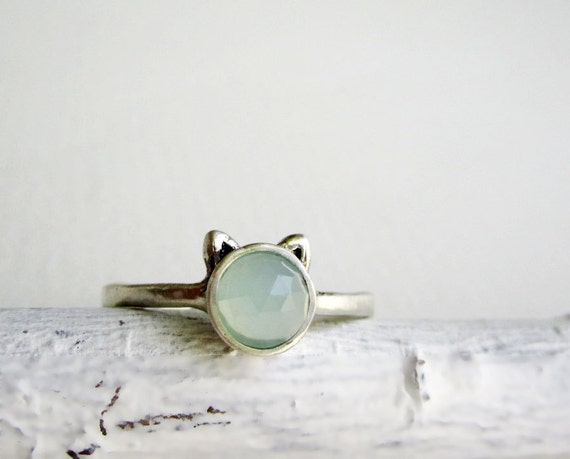 Milky Blue Cat Ring, Blue Chalcedony and Sterling Silver