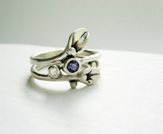 Iolite and White Topaz Leaf Rings,Set of 2 Rings, Engagement Ring, Small Leaf Silver Ring with Iolite & White Topaz
