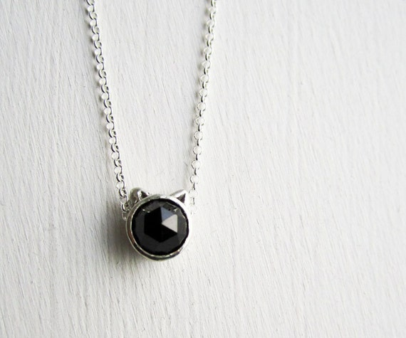 Black Cat Necklace, Black Spinel and Sterling Silver, MADE TO ORDER
