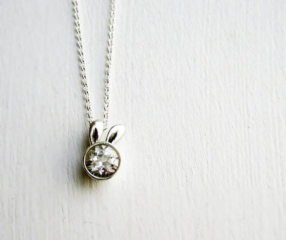 White Bunny Necklace, White Topaz and Sterling Silver, Rabbit Fine Jewelry