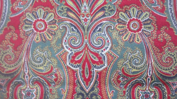 Vintage Red and Green Heavy Cotton Paisley Print - 1 3/4 yards