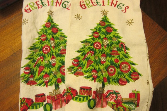 Vintage Christmas Tea Towels Cutters Great 1950s Print