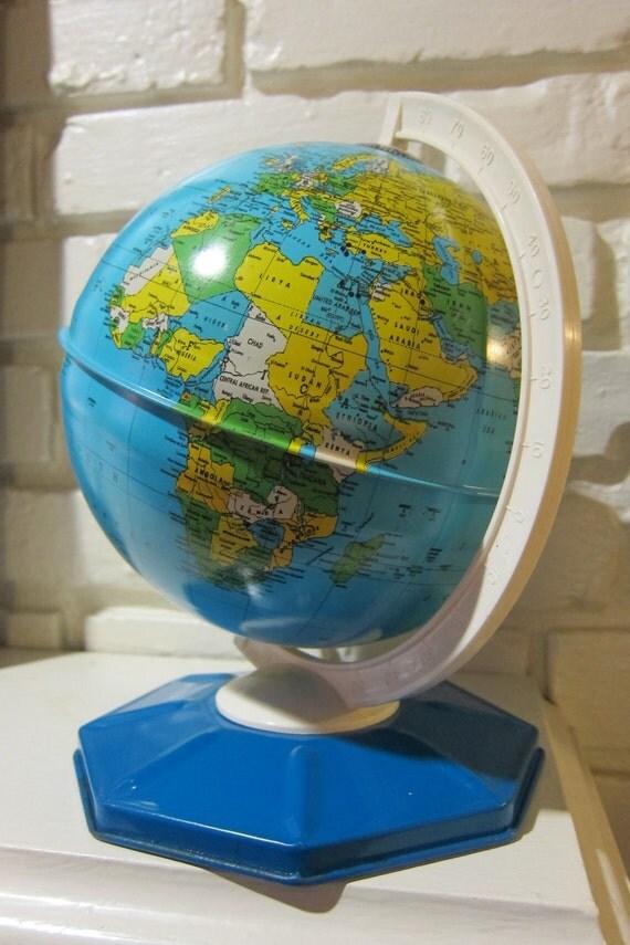 Vintage 1960s Metal Globe By J. Chein Co.