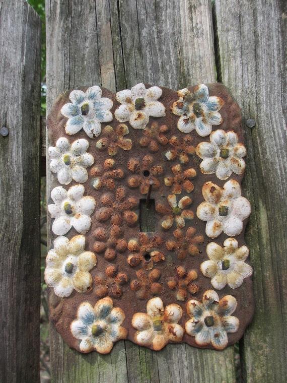 Vintage Rusty Flower Light Switch Plate