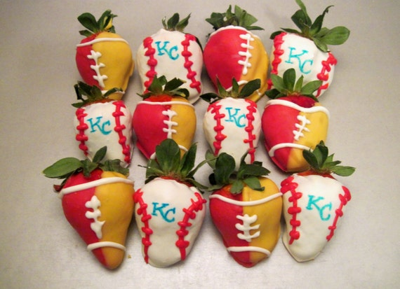 Items similar to Chocolate Covered Strawberries Sports - Kansas City ...