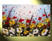 """Original Painting Modern Abstract Oil Painting, Textured Palette Knife Painting, Flower Painting, Poppy Floral, Large 36x24"""" by Christine"""