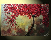 """Original Abstract Tree Painting, Textured Red Tree of Life, Abstract Floral Painting, Red Maple, Blue Brown, Palette Knife 36x24"""" Christine"""