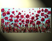 """Original Abstract Textured Painting, Red Poppy Painting, Modern Flower Painting, Poppies Blue Brown Palette Knife, 24x48"""" by Christine"""