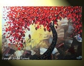 """Original Abstract Red Tree of Life Palette Knife Painting, Abstract Textured Painting, Red Maple Floral, Brown Gold, 36x24"""" -Christine"""