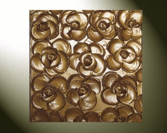 Original Custom Abstract Textured Painting Palette Knife Metallic Bronze Flower Sculpted Wall Art MADE TO ORDER Choose Color Size -Christine