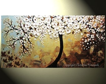 "CUSTOM Abstract Art Painting Tree Paintings Original Textured Tree of Life Palette Knife Bronze White Flowers Blue Brown 48x24"" by Christine"