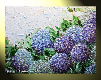 GICLEE PRINT Art Abstract Painting Hydrangea Purple Flowers Canvas Prints Modern Palette Knife Floral Lavender White Choose SIZE -Christine
