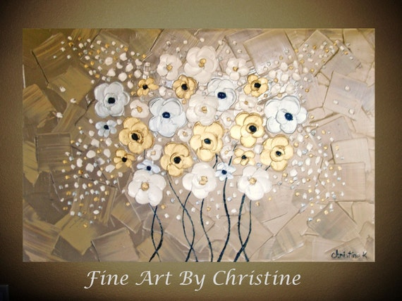 "CUSTOM- Hand-Painted-to-Order, 36x24, Original, Abstract, Modern, Textured, Impasto, Knife, Metallic Oil Painting, ""Frosted Wildflowers"""