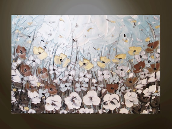 "CUSTOM, Original Abstract Oil Painting on 36x24"" Canvas, Textured Palette Knife, Flowers Wildflowers Floral, Brown Pale Blue -Christine"