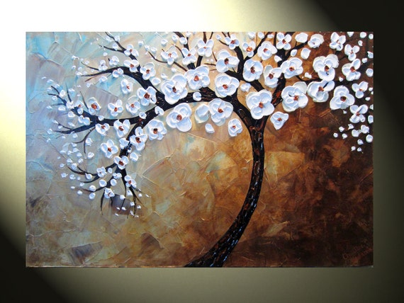 Original Abstract Tree Painting Textured Tree By
