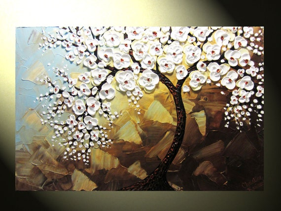 """Original Abstract Tree Painting, Textured Tree of Life, Abstract Floral Painting, White Flowers, Blue Brown, Palette Knife 36x24"""" Christine"""