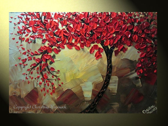 "Original Abstract Tree Painting, Textured Red Tree of Life, Abstract Floral Painting, Red Maple, Blue Brown, Palette Knife 36x24"" Christine"