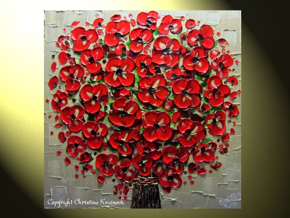 "Original Abstract Palette Knife Painting, Red Flower Bouquet, Textured, Crimson Red, Beige, Blossoms Vase, Modern Art 24x24"" -Christine"