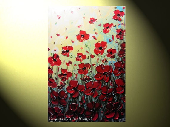 "Original Abstract Textured Painting, Red Poppy, Palette Knife, Poppies Blossoms Vertical Floral, Red Flower, Blue Gold 36x24"" -Christine"