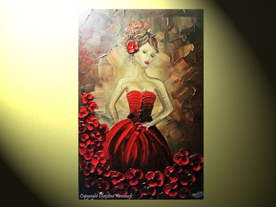 """Original Art Abstract Painting Woman Red Dress Dance Figure Girl Textured Dancer Floral Palette Knife Painting, 36x24"""" -Christine"""