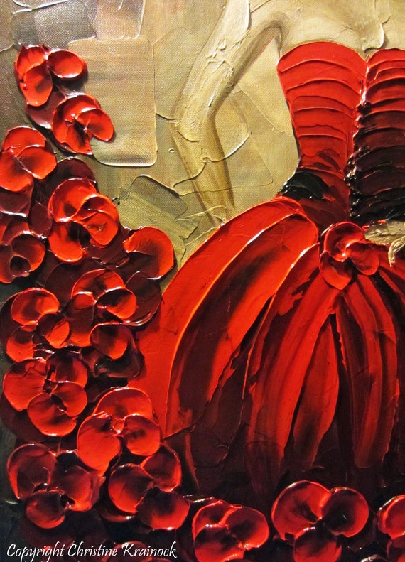 Original Art Abstract Painting Woman Red Dress Dance Figure