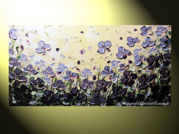 """Original Abstract Textured Painting, Purple Flowers Poppy, Palette Knife, Poppies Blossoms Floral, Modern, Lavender Gold 24x48"""" -Christine"""