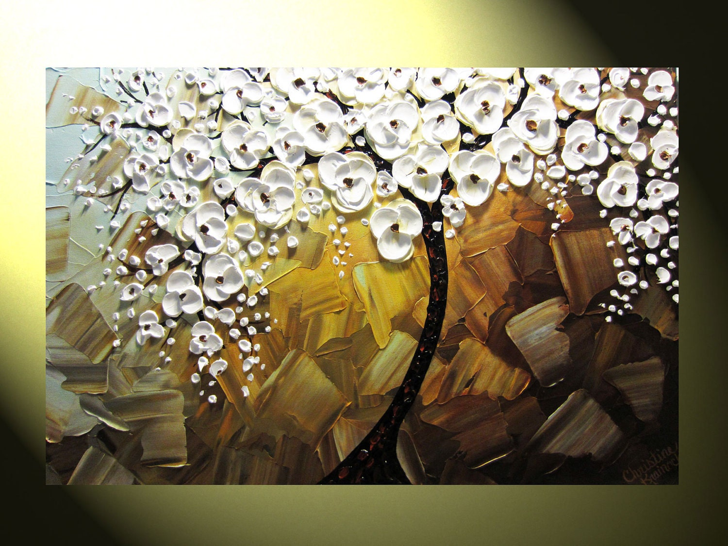 Original Abstract Tree Painting Textured Tree of Life Floral