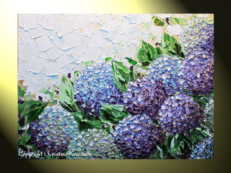 Giclee Print Art Abstract Painting Hydrangea Purple Flowers