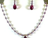 Lavender Pearls with Purple Teadrops Necklace Earring Set