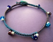 LAMPWORK MUSHROOM Turquoise, Purple and Mocha Hemp Macrame Necklace