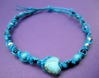 Turquoise Hemp Heart Anklet Medium - XXL