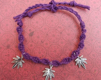 SALE Purple Hemp Macrame Marijuana Bracelet or Anklet