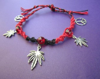 SALE Red and Black Hemp Cannabis Peace Bracelet or Anklet