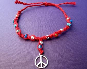 BLOWOUT SALE Red Hemp Macrame Peace Anklet   M / L