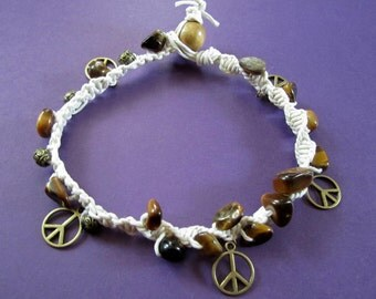 BLOWOUT SALE White Hemp Macrame with Bronze Peace Charms and Gemstones  M - L Anklet