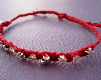 Red Hemp Macrame Star Bracelet