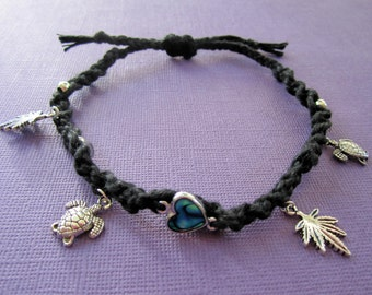 BLOWOUT SALE Black Hemp Abalone Heart Turtle Ganja Anklet / Bracelet