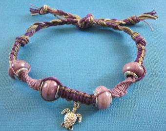 Custom 925 STERLING SILVER Purple Bead Turtle Purple and Brown Bracelet or Anklet